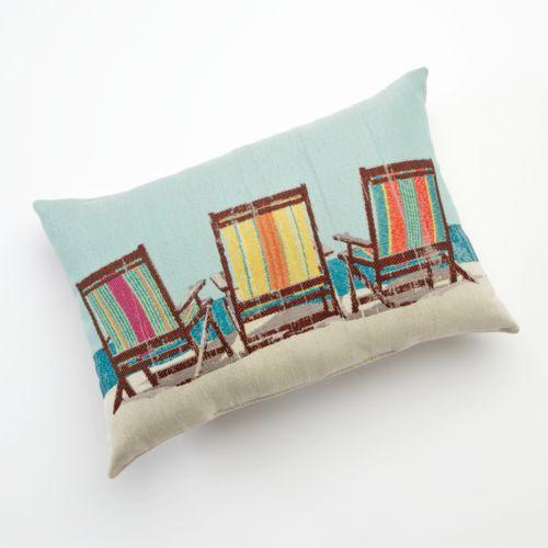 Beach Chairs Oblong Decorative Pillow