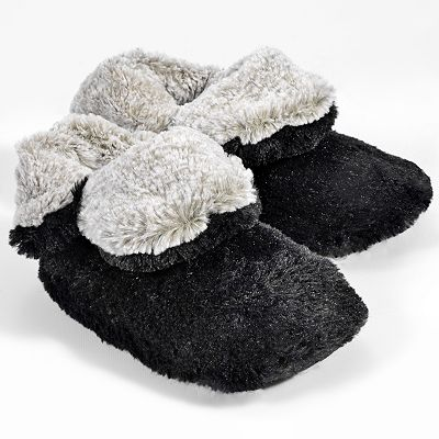 Dearfoams Colorblock Faux-Fur Bootie Slippers
