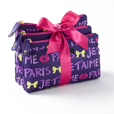 ELLE 3-pc. Sweet Nothing Je t'aime Cosmetic Bag Set