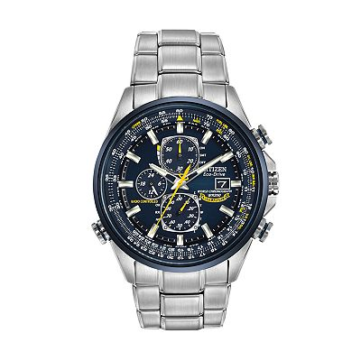 Citizen Eco-Drive Blue Angels World Chronograph A-T Stainless Steel Flight Computer Atomic Watch - AT8020-54L - Men