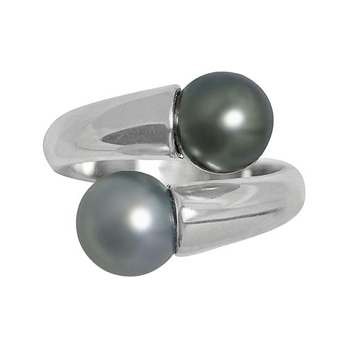Sterling Silver Dyed Freshwater Cultured Pearl Bypass Ring