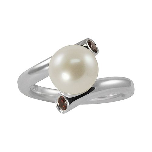 Sterling Silver Freshwater Cultured Pearl & Garnet Bypass Ring
