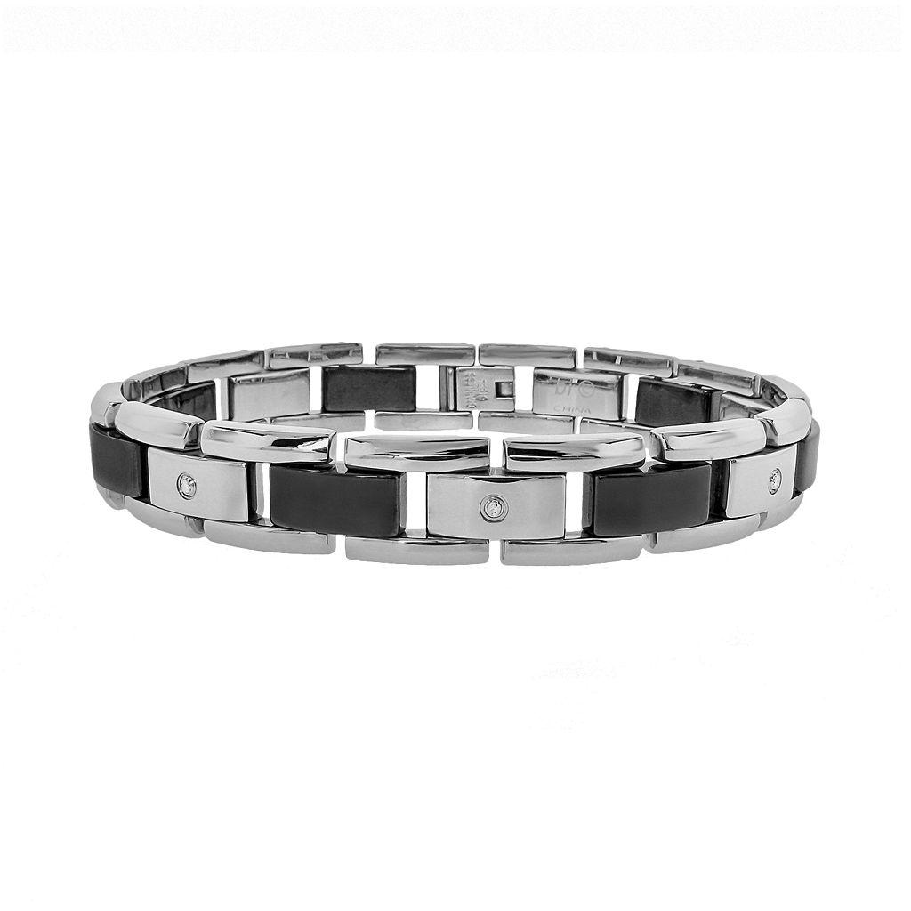 LYNX Stainless Steel & Black Ceramic 1/10-ct. T.W. Diamond Bracelet - Men