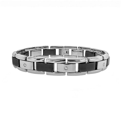 LYNX Stainless Steel & Black Ceramic 1/10-ct. T.W. Diamond Bracelet - Men