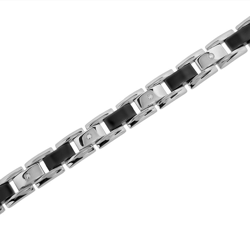 LYNX Stainless Steel and Black Ceramic 1/10-ct. T.W. Diamond Bracelet - Men
