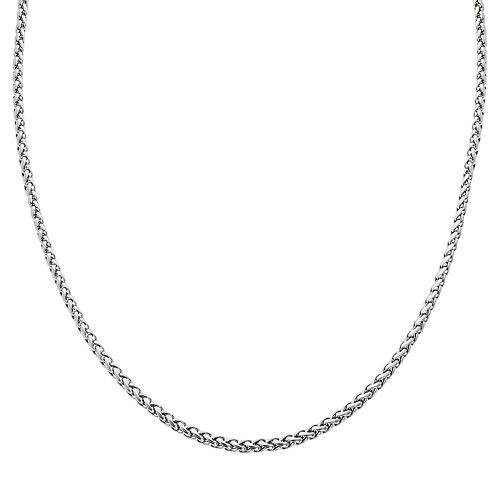 LYNX Stainless Steel Wheat Chain Necklace - 20-in.