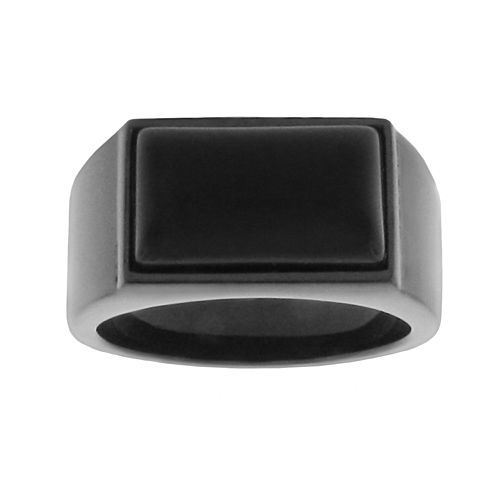 LYNX Stainless Steel Black Ion Black Agate Ring - Men