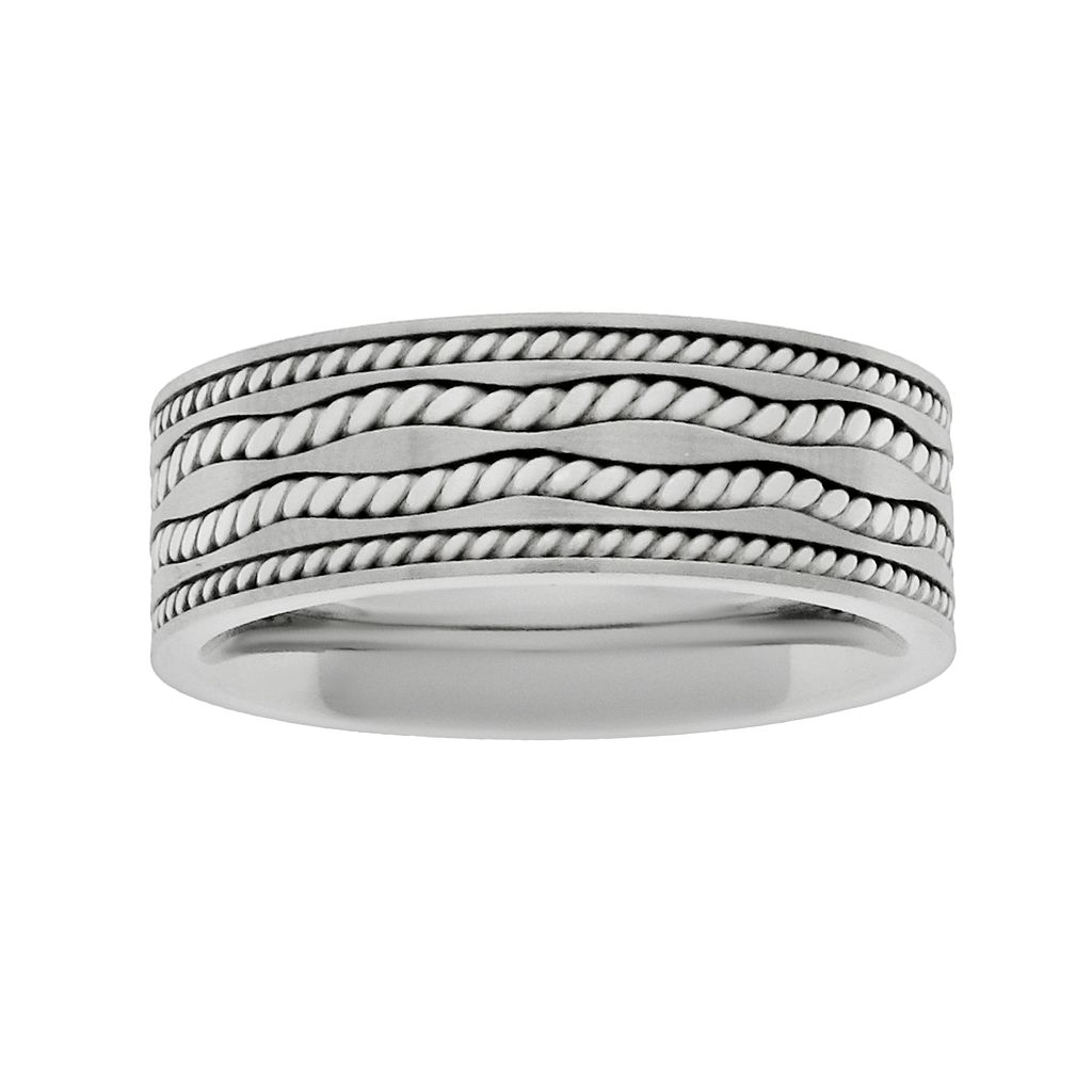 LYNX Sterling Silver & Stainless Steel Twist Band- Men