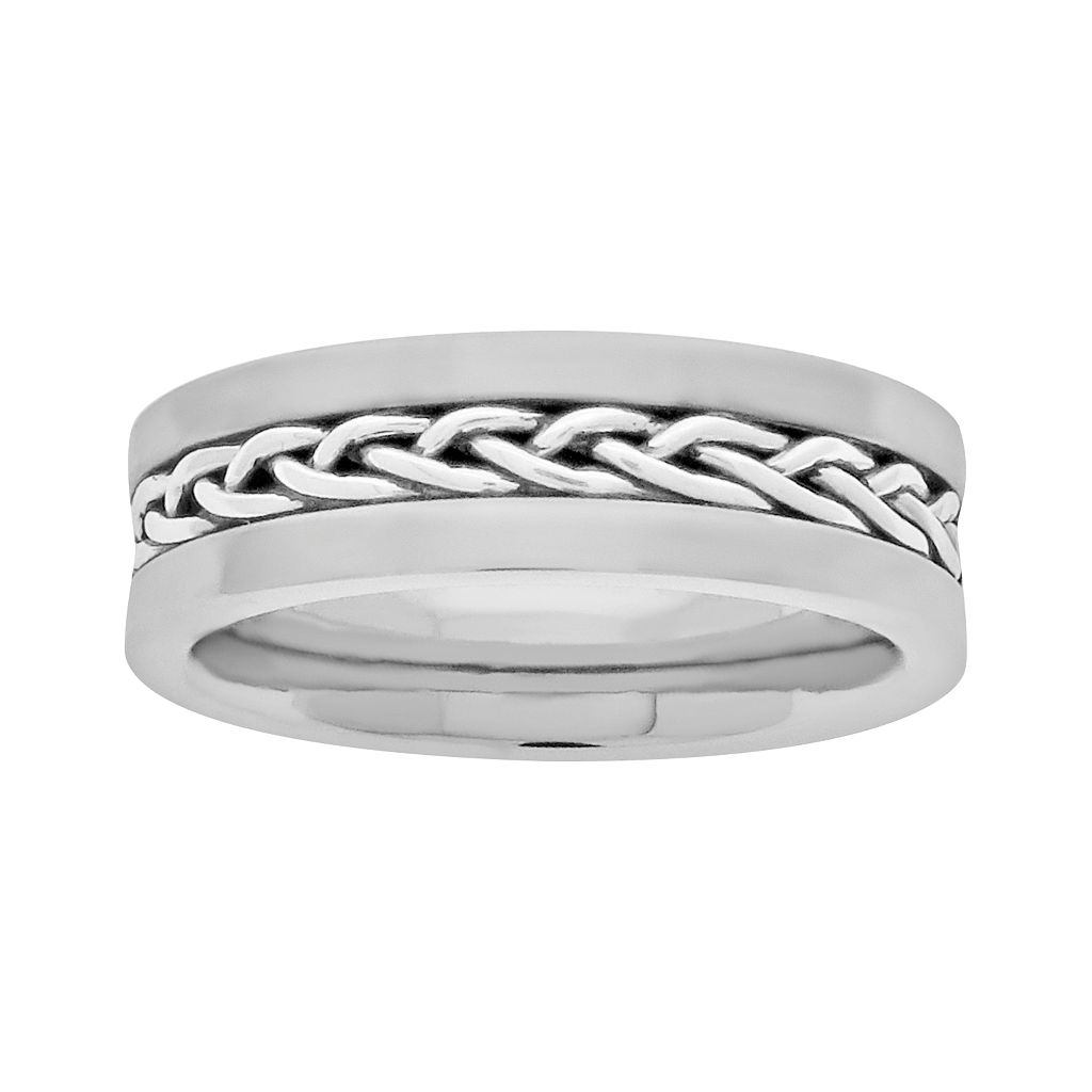 LYNX Sterling Silver & Stainless Steel Braided Wedding Band - Men