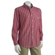 Chaps Wild Heron Striped Easy-Care Casual Button-Down Shirt
