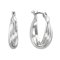 Napier Silver Tone Hoop Earrings