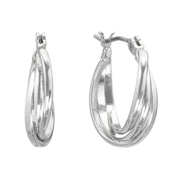 Napier Silver Tone Hoop Earrings