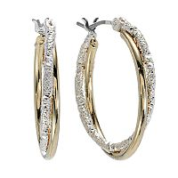 Napier Two Tone Textured Hoop Earrings