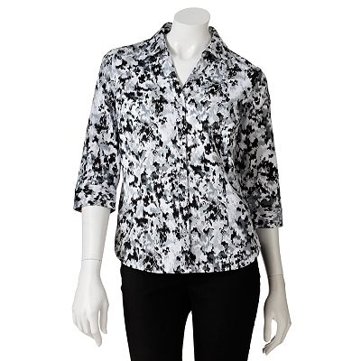 212 Collection Ikat Sateen Shirt - Petite