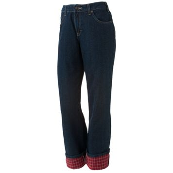 Dickies Flannel-Lined Straight-Leg Jeans - Women's