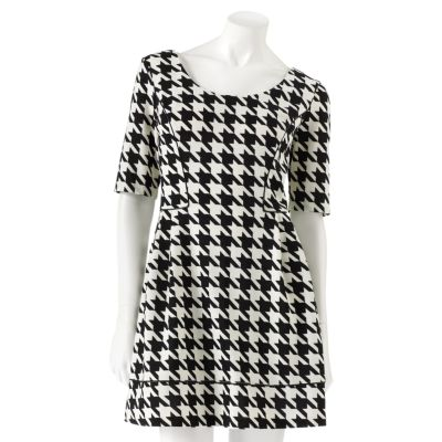 Candie's Houndstooth Cutout Fit 'n' Flare Dress