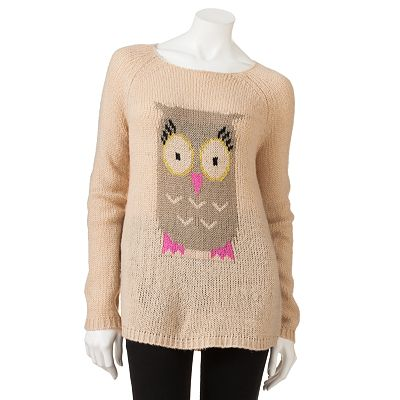 Rewind Owl Tunic Sweater - Juniors