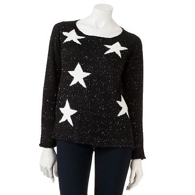Rewind Star Sequin Tunic Sweater - Juniors