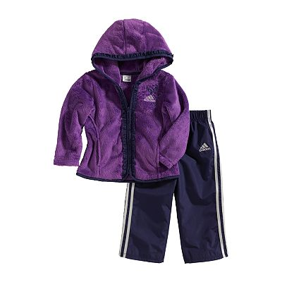 adidas Fleece Jacket and Tricot Pants Set - Toddler