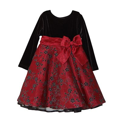 Blueberi Boulevard Floral Flocked Dress - Toddler