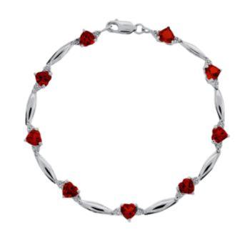 Sterling Silver Garnet and Diamond Accent Heart Bracelet