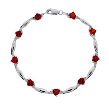 Sterling Silver Garnet & Diamond Accent Heart Bracelet