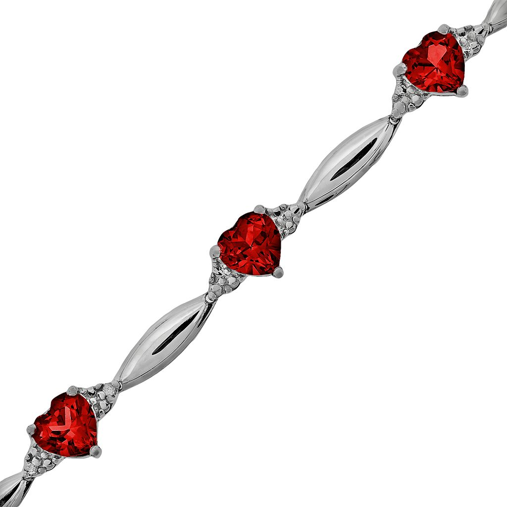 Sterling Silver Garnet and Diamond Accent Heart Bracelet