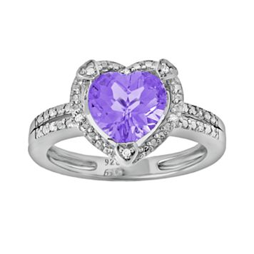 Sterling Silver Amethyst & Diamond Accent Heart Frame Ring