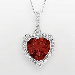 Sterling Silver Garnet & Diamond Accent Heart Frame Pendant