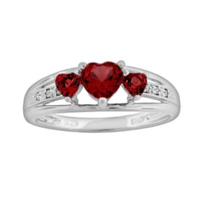 Sterling Silver Garnet and Diamond Accent Heart 3-Stone Ring