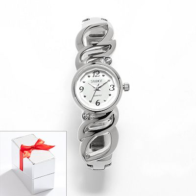 Studio Time Silver Tone Simulated Crystal Bangle Watch - Women