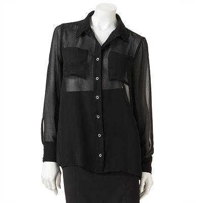 Mudd Hi-Low Chiffon Button-Front Top - Juniors