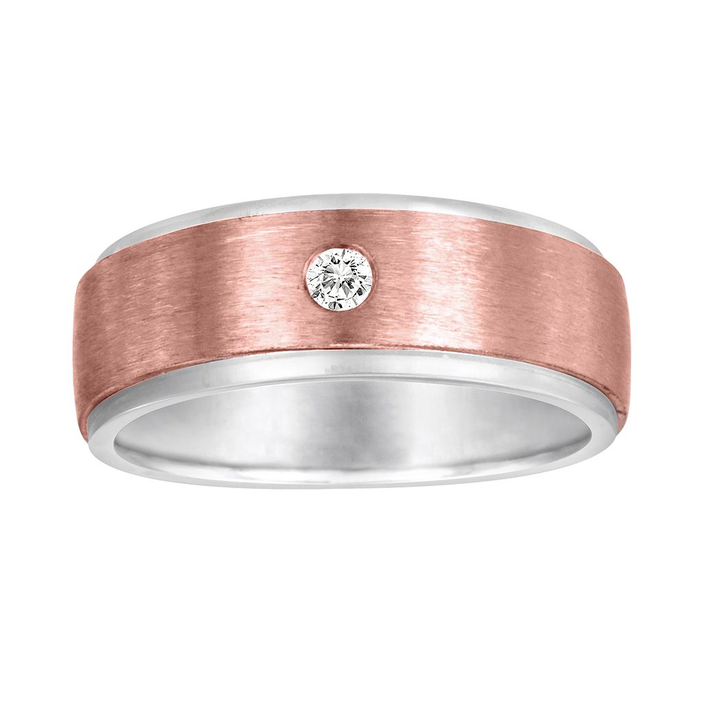 Sansone Collection 14k Rose Gold & Argentium® Sterling Silver 1/8-ct. T.W. Certified Diamond Wedding Band - Men