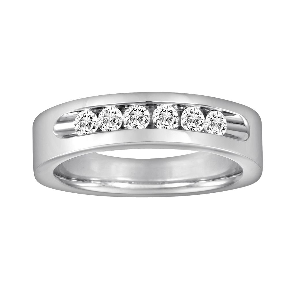 Sansone Collection 14k White Gold & Argentium® Sterling Silver 1/2-ct. T.W. Certified Diamond Wedding Band - Men