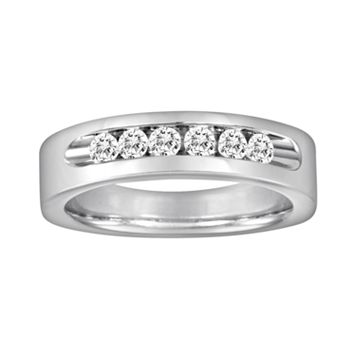 Sansone Collection 14k White Gold & Argentium® Sterling Silver 1/2-ct. T.W. Certified Diamond Wedding Band - Men