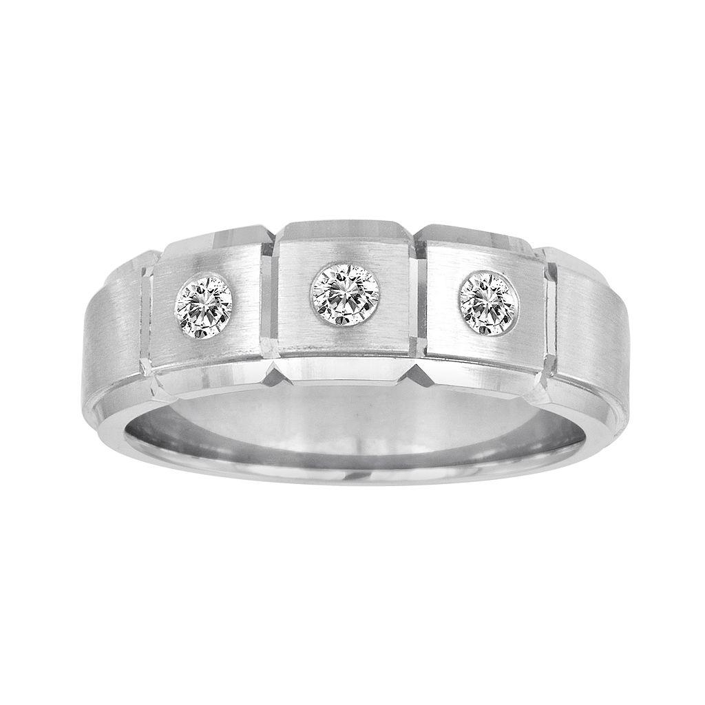 Sansone Collection 14k White Gold & Argentium® Sterling Silver 1/4-ct. T.W. Certified Diamond Wedding Band - Men