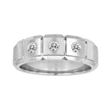 Sansone Collection 14k White Gold & Argentium® Sterling Silver 1/4-ct. T.W. Certified Diamond Wedding Band - Men