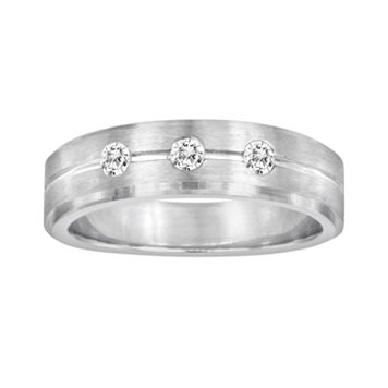 Sansone Collection 14k White Gold & Argentium® Sterling Silver 1/5-ct. T.W. Certified Diamond Wedding Band - Men