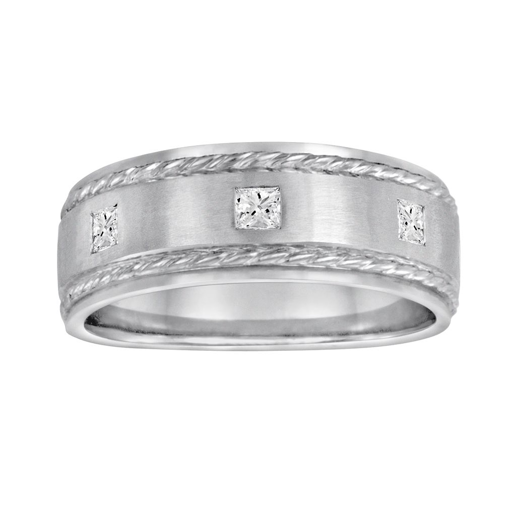 Sansone Collection 14k White Gold & Argentium® Sterling Silver 1/5-ct. T.W. Certified Diamond Wedding Band - Men