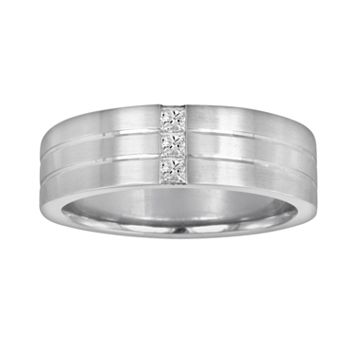Sansone Collection 14k White Gold & Argentium® Sterling Silver 1/3-ct. T.W. Certified Diamond Wedding Band - Men