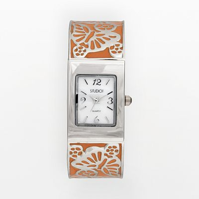 Studio Time Silver Tone Mother-of-Pearl Butterfly Bangle Watch - Women