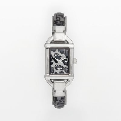 Studio Time Silver Tone Leopard Bangle Watch - Women
