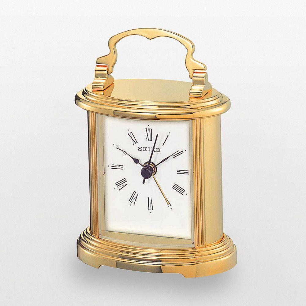 Seiko Gold Tone Carriage Alarm Clock - QHE109GLH