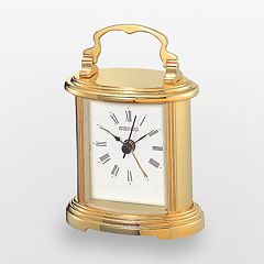 Seiko Gold Tone Carriage Alarm Clock - QHE109GLH