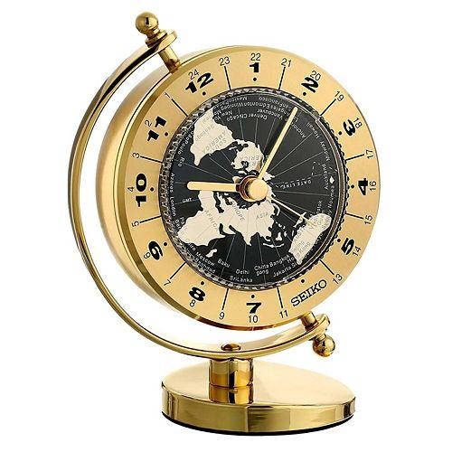 Seiko Gold Tone Globe Clock Qhg106glh