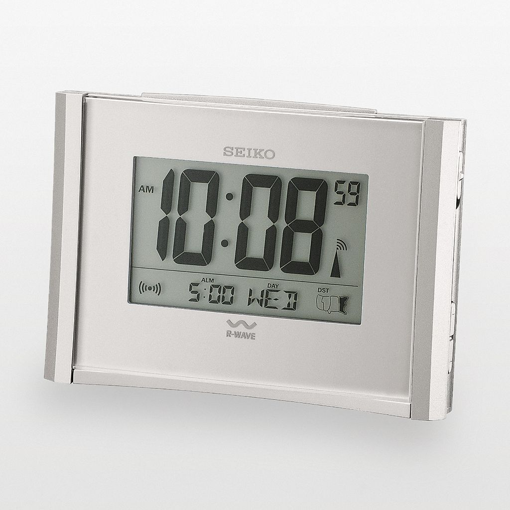 Seiko Get Up & Glow R-Wave Silver Tone Atomic Digital Alarm Clock - QHR015SLH
