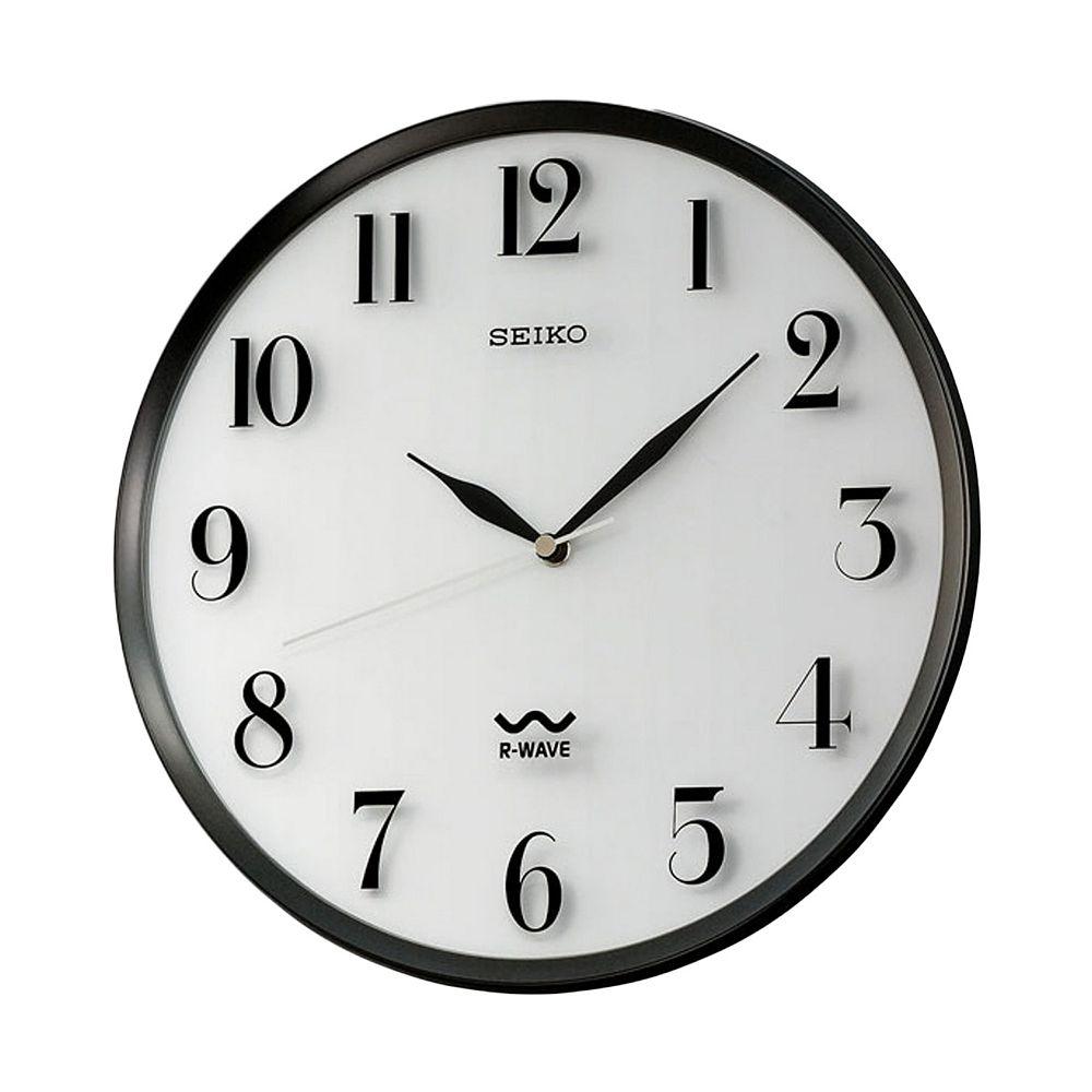 Seiko R Wave Atomic Black Wall Clock   QXR131SLH. R Wave Atomic Black Wall Clock   QXR131SLH
