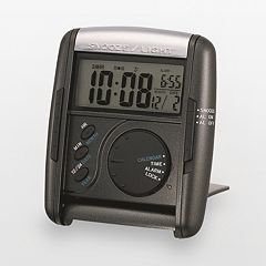 Seiko Get Up & Glow Black Travel Alarm Clock - QHL004KLH
