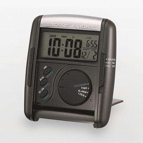 Seiko Get Up & Glow Black Travel Alarm Clock - QHL004KLH