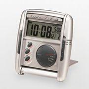 Seiko Get Up & Glow Silver Tone Travel Alarm Clock - QHL004SLH